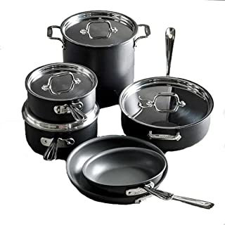 All-Clad E786SCDI NS1 Nonstick Dishwasher Safe PFOA Free Cookware Set, 10-Piece. Black