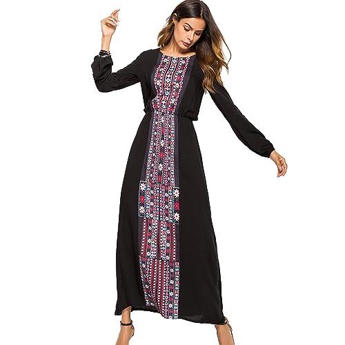 e33427a116d3e sankill Women Boho Dresses Long Sleeve Maxi Dress Autumn Round Neck A Line  High Waist Dress