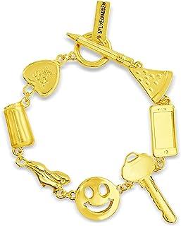 Steve Madden Yellow Gold Toned Pencil Pizza Phone Smiley Face Key Heart Charm Bracelet for Women