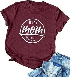 YUHX Wife Mom Boss - Camiseta de manga corta para mujer, diseño con texto en alemán
