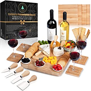 Cheese Board Set: 13x13.4x2 Inch All Bamboo Tray with Slide Out Drawer, 4-Piece Cutlery, Coasters and Guide in a Gift Box, Perfect Housewarming Gift & Best Gift For Every Kitchen