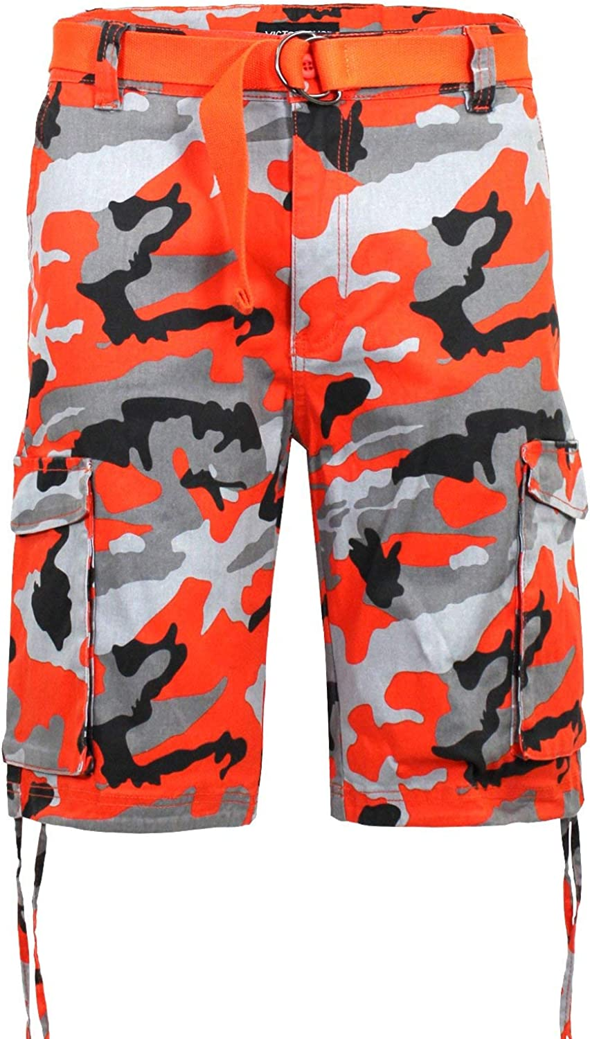 Victorious Men's Belted Ripstop Twill Camo Cargo Short