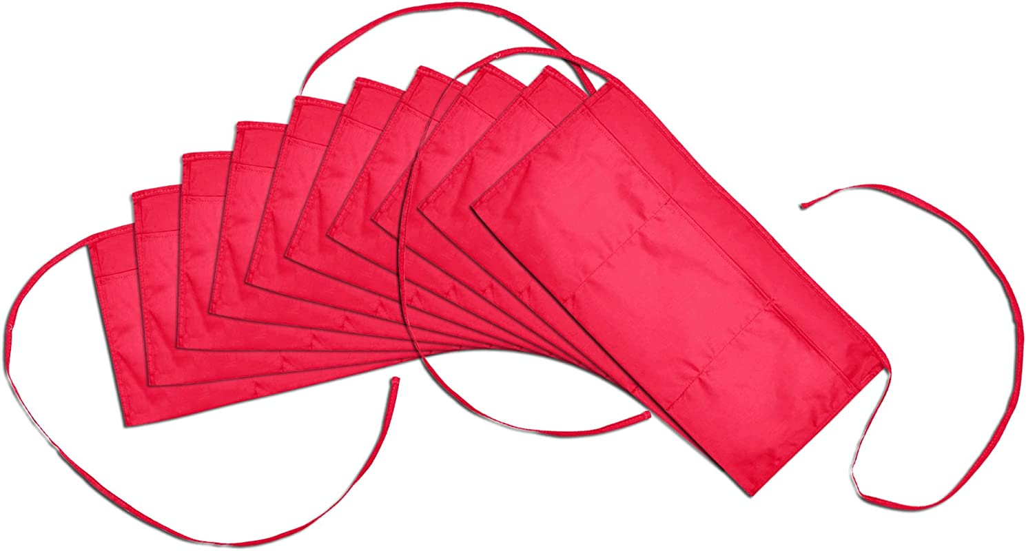 Waist Aprons Commercial Restaurant Home Bib Spun Poly Cotton Kitchen 3 Pockets In Red 10 Pack