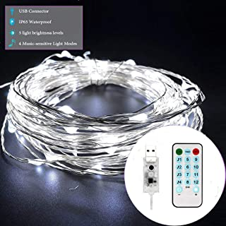 USB Twinkle Lights Waterproof Fairy Lights Music-Sensitive led String Lights led Strip 65.6ft 200 LED Outdoor Indoor Bedroom Decor White