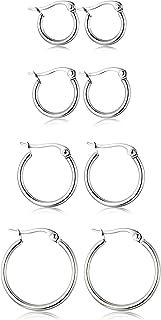Adramata 4 paia di orecchini a cerchio in acciaio inossidabile, orecchini carini per donne, 10MM-20MM