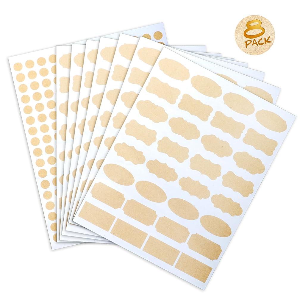 8 Sheet Essential Oil Bottle Stickers Labels,Waterproof Shape Stickers for Food Jars,Fancy Kraft Paper(445 Pcs)