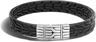 Men's Classic Chain Silver Black Embossed leather 10mm Bracelet with Pusher Clasp