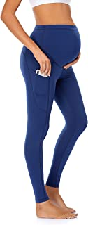 Sponsored Ad - JOYMOM Maternity Leggings Over The Belly Pregnancy Yoga Pants with Side Pockets