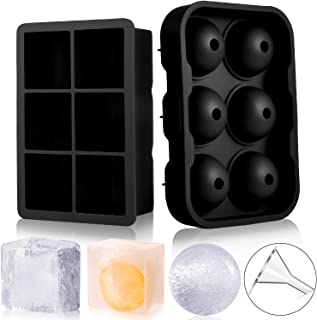 Trenect Ice Cube Trays Silicone (Set of 2), Large Size Sphere Ice Ball Maker with Lids & Square Ice Cube Molds for Whiskey and Cocktails, BPA Free (Black)