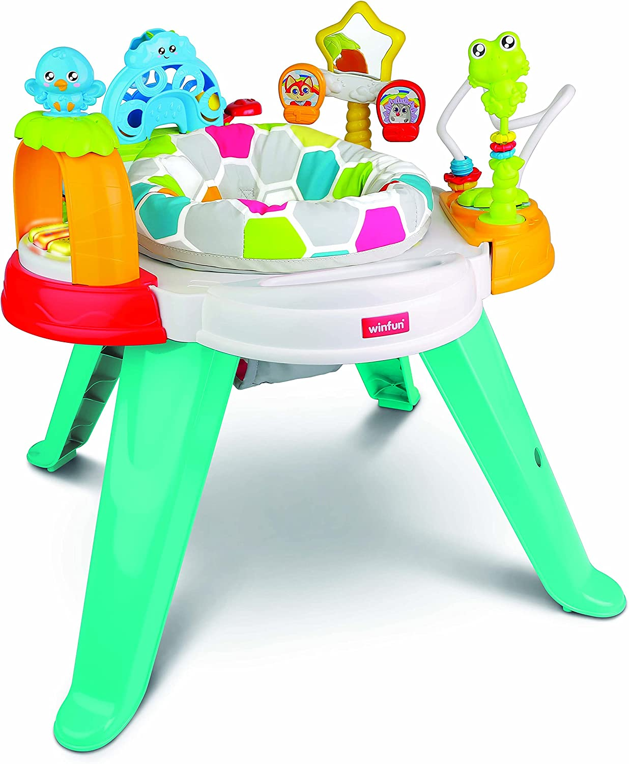 winfun | 3-in-1 Sit and Play, Activity Centre and A Toddler Play Table | Interactive Spinning Clicking and Rattling Toys with Lights and Sounds | Suitable for Boys and Girls 6 Months +