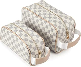 Luxury Checkered Make Up Bag Designer Cosmetic Toiletry Travel Bags including 2 Size Bag (White)