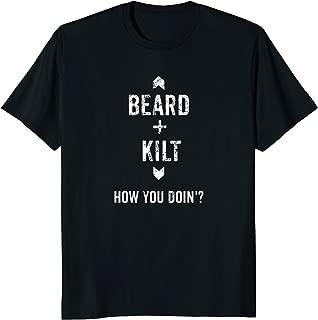 Beard Kilt Funny Scottish Distressed T-Shirt