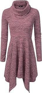 NINEXIS Womens Cowl Neck Long Sleeve Flowy Sweater Dress