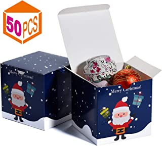 Mesha Gift Boxes Christmas Boxes for Gifts 4x4x4 Inch Kraft Gift Boxes with Lids 50-Pack Gift Wrapping Paper Boxes Christmas Gift Boxes for Holiday Presents,(Christmas Blue-50Pcs)