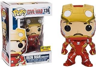 Funko Iron Man [Unmasked] (Hot Topic Exclusive): Captain America - Civil War x POP! Marvel Vinyl Figure & 1 POP! Compatible PET Plastic Graphical Protector Bundle [#136 / 07225 - B]