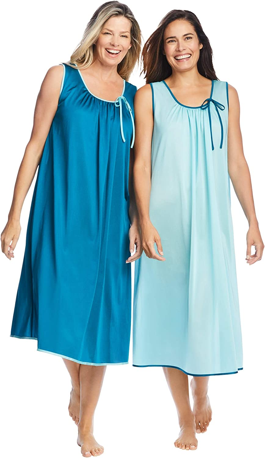 Only Necessities Women's Plus Size 2-Pack Sleeveless Nightgown