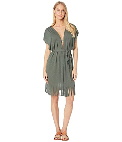 BECCA by Rebecca Virtue Breezy Basics Belted Fringe Kimono Cover-Up (Basil) Women
