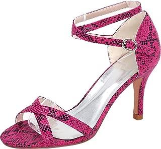 Vimedea Womens Ankle Strap Dress Sexy Heeled Sandals Wedding Bride Open Toe PU 9920-05S