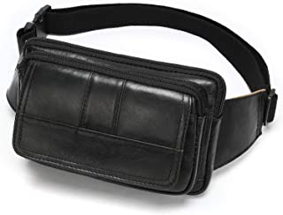 NIUCUNZH Fanny Pack for Men and Women, Leather Sling Waist Bag for Hiking Running Travel - Durable Cowhide Leather