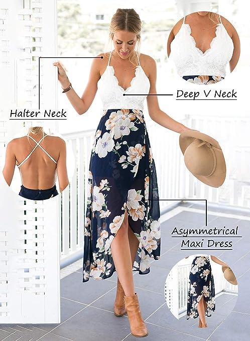 blooming jelly asimmetrico vestito floreale allacciato al collo a v  profondo delle donne gelatina : amazon.it: moda  amazon.it