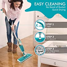 STARSHINE Multifunctional Stainless Steel Microfiber Floor Cleaning Healthy Mop with Removable Washable Pad and Integrated Water Spray Mechanism (Multicolour)