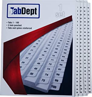 Index Tab Dividers (1 to 100) + Table of Contents (Letter Size)