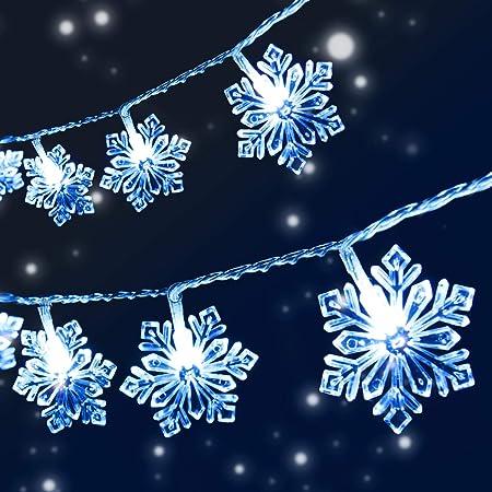VIFLYKOO Guirlande Lumineuse Flocon de Neige, 8 M 50 LED avec Télécommande 8 Modes, Lampes Décoratives Intérieur/Extérieur pour Sapin de Noël, Halloween, Fête, Anniversaire, Mariage, Chambre