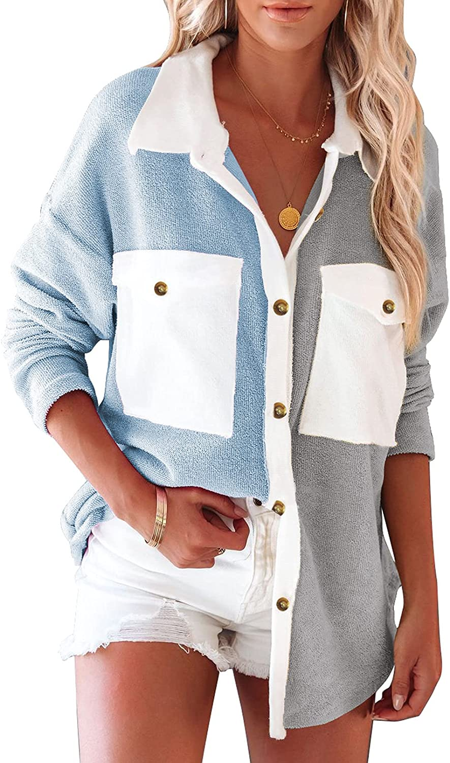 Rosfancy Women's Casual Long Sleeve Button Down Shirts Color Block Blouses Tops