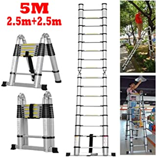 SIKY 16.4 Ft Aluminum Telescopic Ladder Telescoping A-Type(8.2 ft + 8.2 ft) Extendable Multi-Purpose Ladder Heavy Duty Folding Combination Ladder 330 lbs Capacity for Indoor Outdoor Work