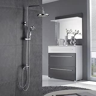 Auralum Columna de ducha redonda-Conjunto Ducha giratoria de 180° -Ducha de mano como lluvia Para Baño