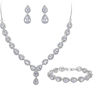BriLove Women's Wedding Bridal Teardrop CZ Infinity Figure 8 Y-Necklace Tennis Bracelet Dangle Earrings Set