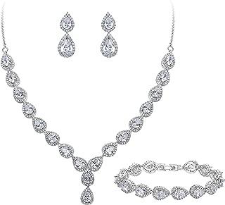 BriLove Women's Wedding Bridal Teardrop CZ Infinity Figure 8 Y-Necklace Tennis Bracelet Dangle Earrings Set