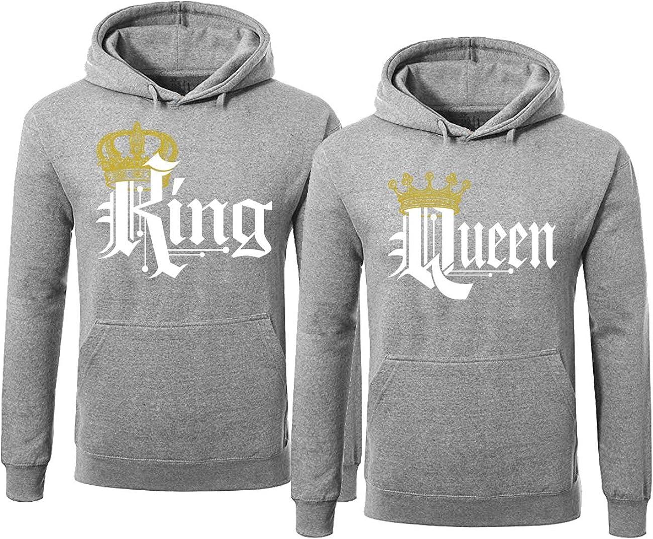 Men Women Hoodies Jumper Hooded Top King Queen Crown Couples Unisex Sweatshirts