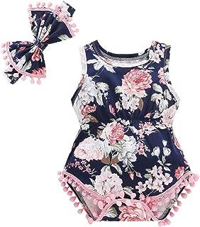 New Born Baby Girls Boys Pompom Romper Newborn Infant Tassel Floral Jumpsuit Clothes Set with Headband