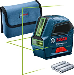 Bosch Professional Laser Level GLL 2-10 G (green laser, working Range: up to 10 m, 3x Batteries AA, pouch) - Amazon Exclusive