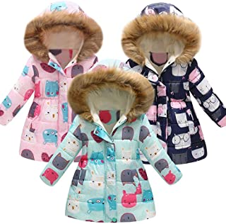 Clearance Girls Winter Cartoon Print Warm Windproof Down Cotton Jacket Hooded Parkas Coat