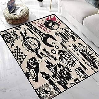 Retro Bedroom Area Rugs 1.3x2 ft Car Repair Shop Logos Monochrome Car Silhouettes Best Garage in Town Floor mats for car
