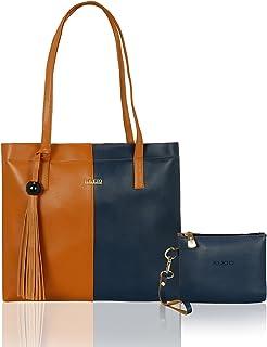 Kleio Stylish Trendy College Work Travel Tote Handbag Set of 2 for Women Girls with a Zip