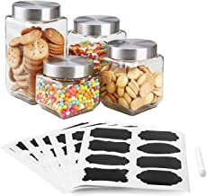 Home Basics 4-Piece Square Glass Canister Set with 56 Reusable Chalkboard Food Storage and More Glass Containers