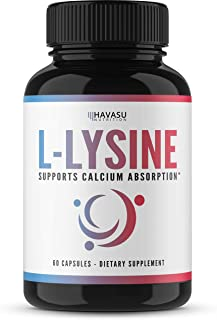 Havasu Nutrition L-Lysine, High Potency Designed for Immune Support and Maintenance of Healthy Arginine Levels, Helps Aid Cold Sores & Skin Care for Men & Women, Non-GMO, 500 mg, 60 Capsules