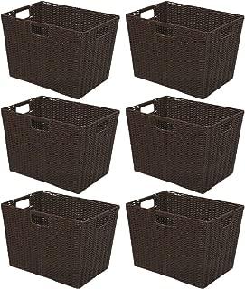 アイリスオーヤマ 収納ボックス 1) ブラウン 38×26×26cm カラー編みバスケット 深型 KAB-38D 6個セット