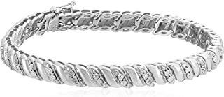 Sterling Silver Diamond Miracle Plate San Marco Bracelet (1/10 cttw, I-J Color, I2-I3 Clarity), 7.25