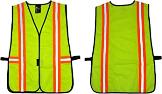 G & F 41112 Industrial Safety Vest with Reflective Stripes, Neon Lime Green