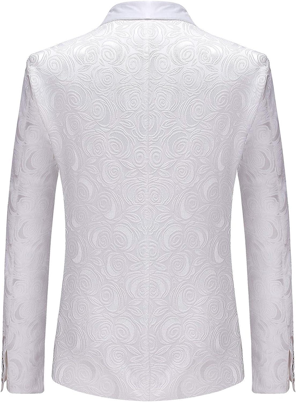 ZEROYAA Mens Hipster Solid Rose Jacquard Dress Suit Jacket Wedding Prom Tuxedo