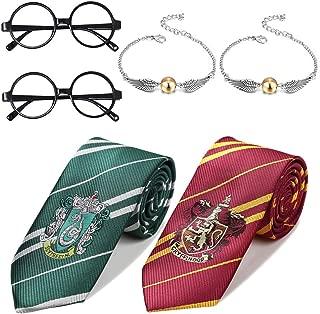 Shinelee 6 Stück Gestreifte Krawatte Goldener Schnatz Quicksilver Armband Party Zubehör Neuheit Wizard Brille für Kinder HP Fans
