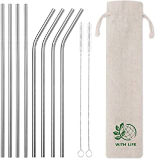 Kumako Stainless Steel Straws Set of 8, Food Grade Metal Straws with Pouch and Cleaning Brush (4 Straight + 4 Bent + 2 Cleaning Brush+1 Pouch)