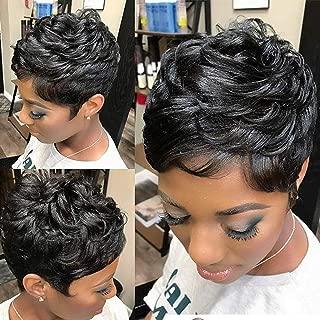 Yviann Pixie Human Hair Wigs Short Layered Wavy hairstyle Black Cute Wigs Short Hair Wigs for Black Women