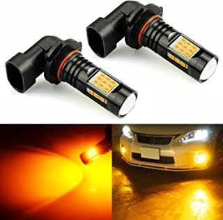 JDM ASTAR 2400 Lumens Extremely Bright PX Chips H10 9145 9140 LED Fog Light Bulbs for DRL or Fog Lights, Amber Yellow