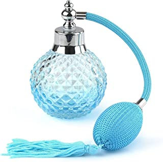 Pixnor 100ml Perfume Bottles with Atomizer Crystal Vintage Refillable Atomizer Blue