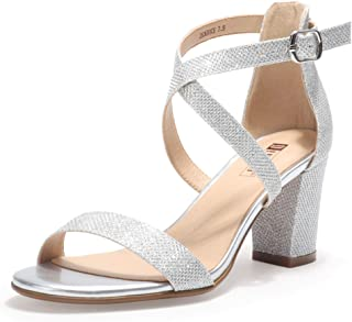 Women's IN3 Grace Strappy Block Heels Sandals Comfy Open Toe Chunky Dress Wedding Shoes with Adjustable Cross Strap